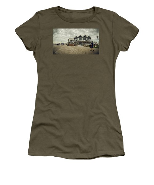 Women's T-Shirt featuring the photograph Asbury Park Boardwalk Looking South by Steve Stanger
