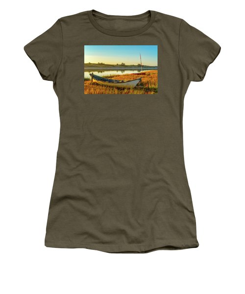 Women's T-Shirt featuring the photograph Boats In The Marsh Grass, Ogunquit River by Jeff Sinon