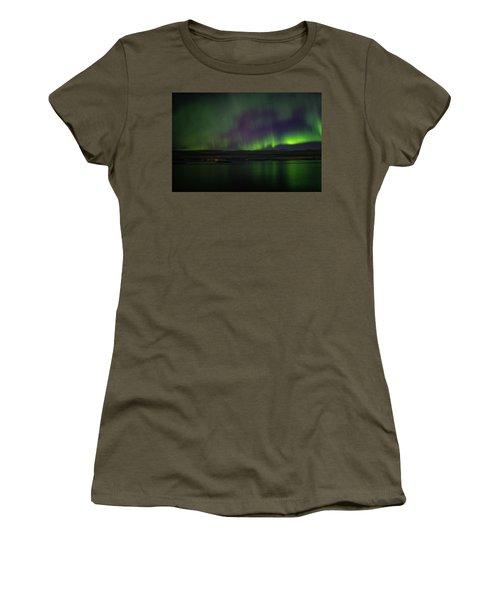 Aurora Borealis Reflecting At The Sea Surface Women's T-Shirt