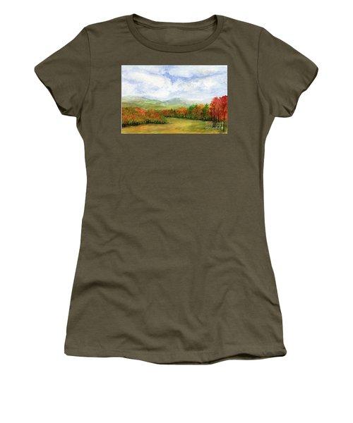 Autumn Day Watercolor Vermont Landscape Women's T-Shirt