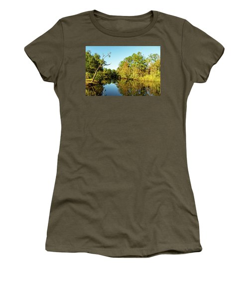 Women's T-Shirt featuring the photograph Autumn On The Bayou by Kay Brewer