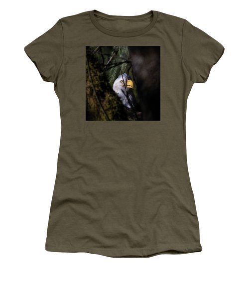 Bald Eagle Behind Tree Women's T-Shirt