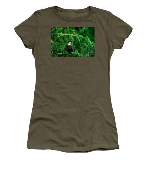Bald Eagle In Temperate Rainforest Alaska Endangered Species Women's T-Shirt