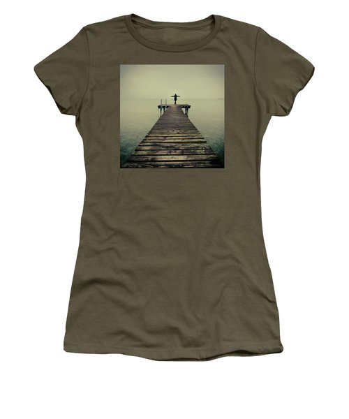 Ballerina Pose At Idyllic Lake At Winter Women's T-Shirt