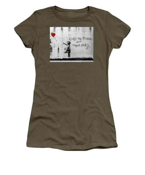 Banksy Balloon Girl Fight The Fighters Women's T-Shirt