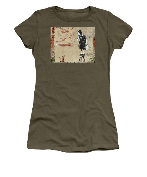 Banksy New Orleans Girl And Mouse Women's T-Shirt