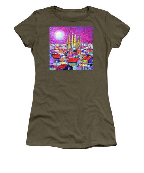 Barcelona Mystic Full Moon Over Sagrada Familia Abstract Cityscape Knife Painting Ana Maria Edulescu Women's T-Shirt