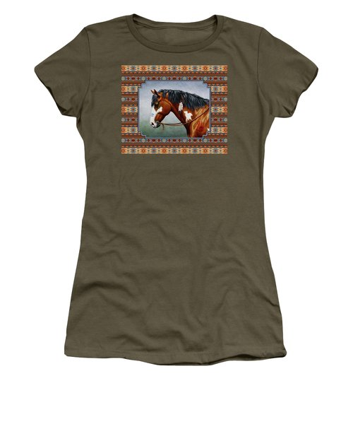 Bay Native American War Horse Southwest Women's T-Shirt