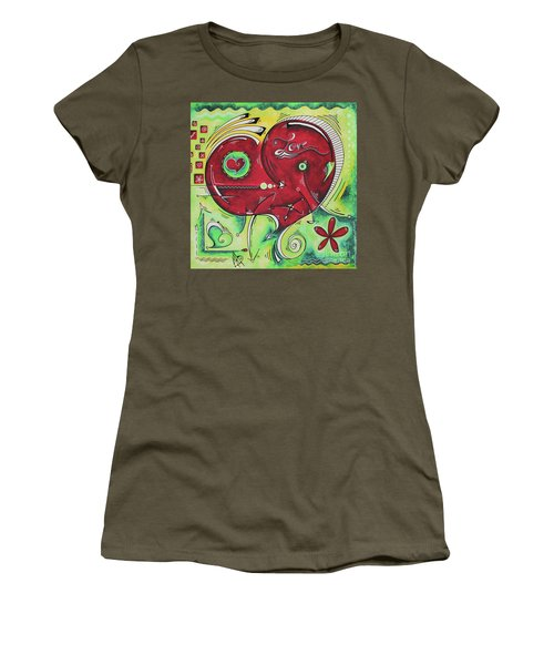 Beautiful Green And Red Heart Painting Infinite Love Pop Of Love Collection By Madart Women's T-Shirt