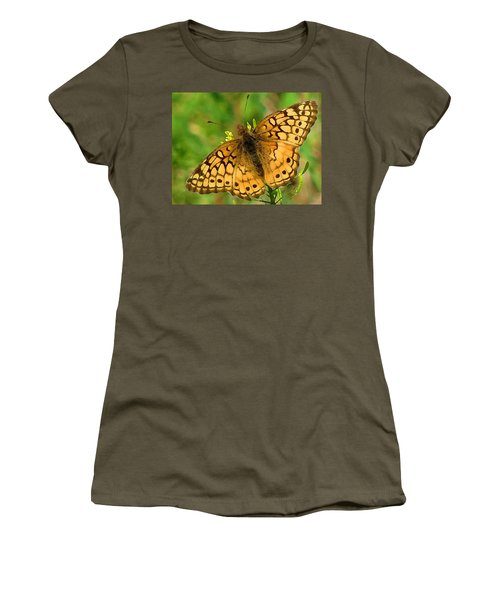 Women's T-Shirt featuring the digital art Beautiful Orange Spotted Butterfly by Shelli Fitzpatrick