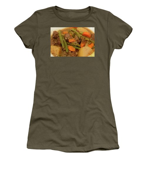 Women's T-Shirt featuring the photograph Beef Stew Serving by Angie Tirado