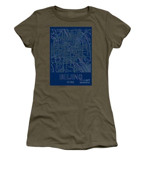 Beijing Blueprint City Map Women's T-Shirt