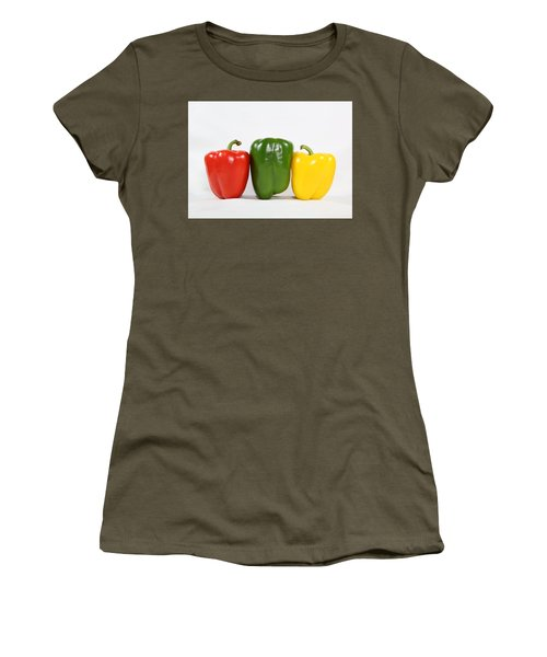Women's T-Shirt featuring the photograph Bell Pepper Support Group by Debi Dalio
