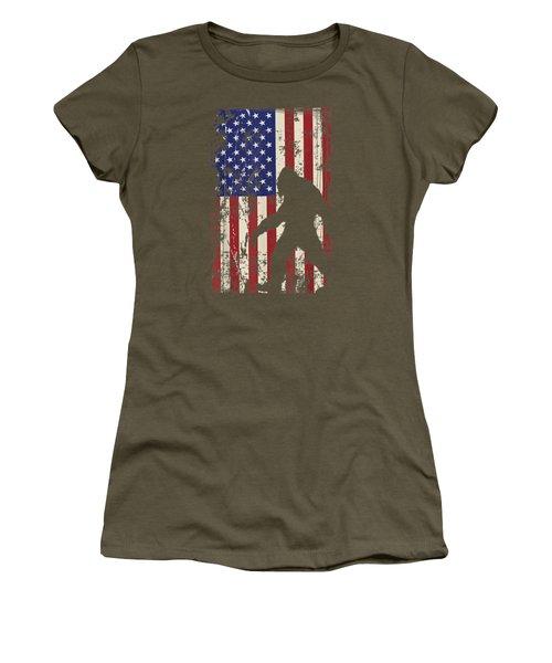 Bigfoot American Flag Shirt I 4th Of July Patriotic T-shirt Women's T-Shirt