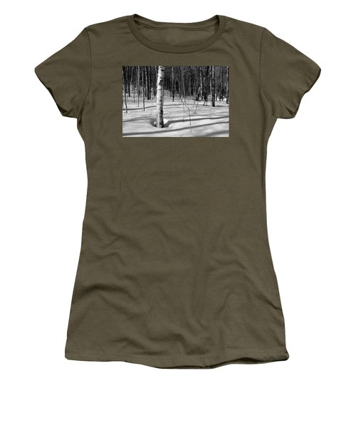 Women's T-Shirt featuring the photograph Birch Shadow. by Jeff Sinon
