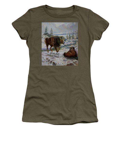 Bison In Yellowstone In The Winter Women's T-Shirt