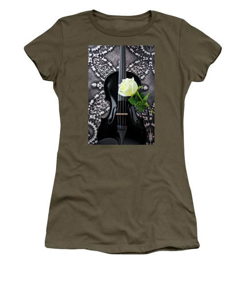 Black Violin And White Rose Women's T-Shirt