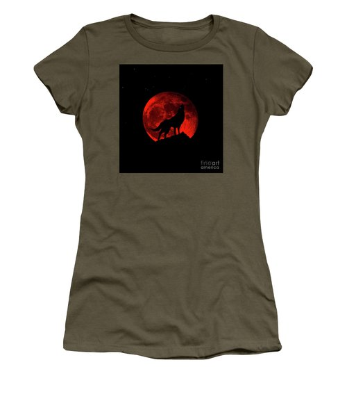 Blood Red Wolf Supermoon Eclipse 873l Women's T-Shirt