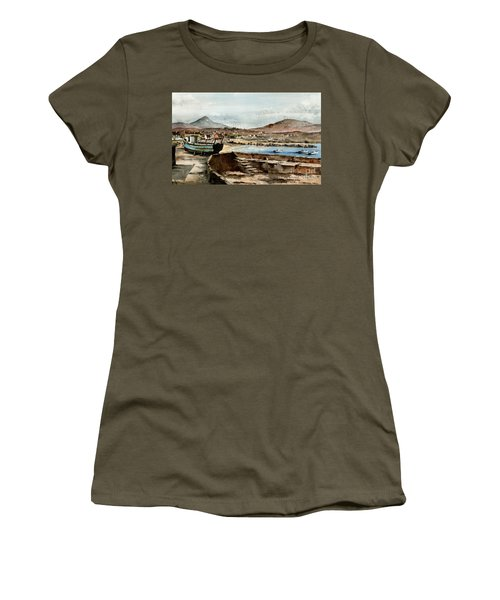 Women's T-Shirt featuring the painting Blue Boat At Greystones Harbour by Val Byrne