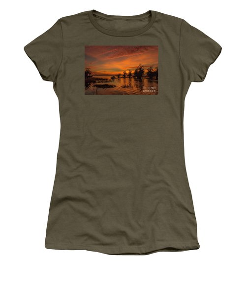 Blue Cypress Sunrise With Boat Women's T-Shirt
