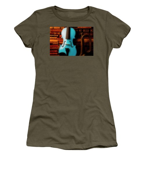 Blue Violin And Old Books Women's T-Shirt