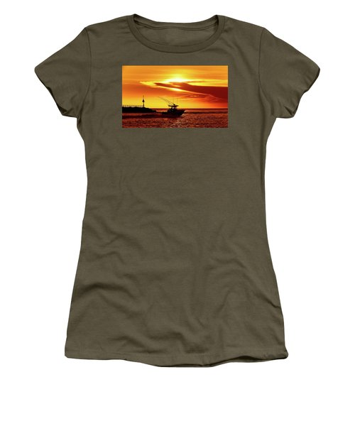 Boat Headed Out Of Jupiter Inlet Women's T-Shirt
