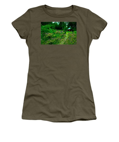 Women's T-Shirt featuring the photograph Breeze On The Lupine Field by Wayne King