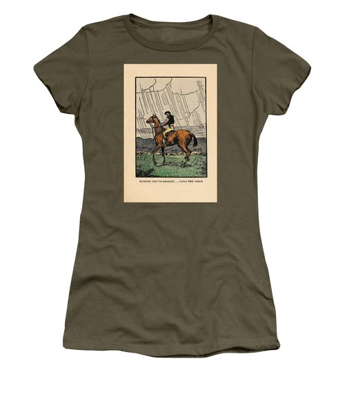 Women's T-Shirt featuring the painting Brown Stallion, Omey by Val Byrne