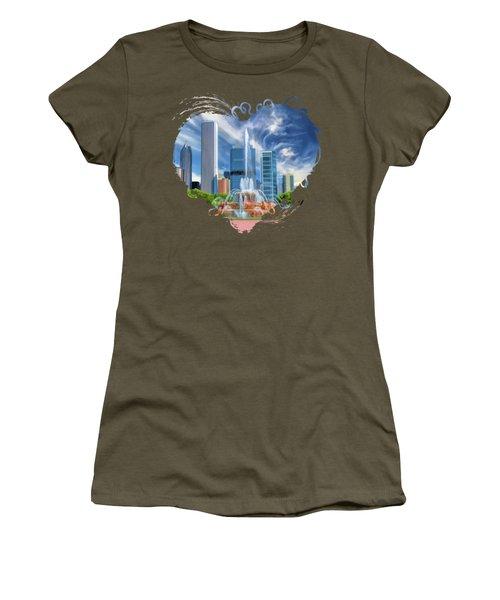 Buckingham Fountain Chicago Skyscrapers Women's T-Shirt
