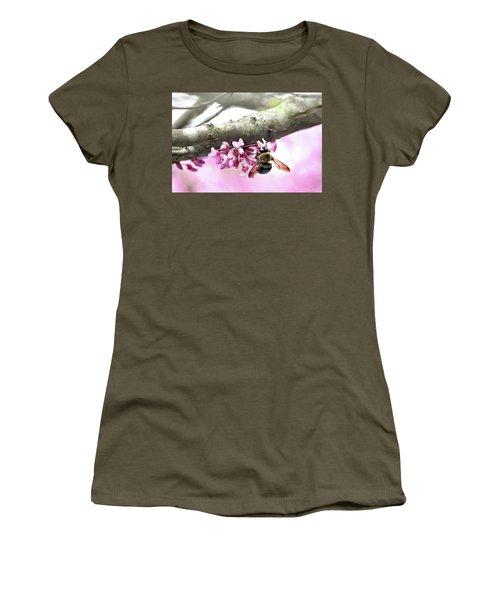 Bumblebee On Redbud Flower Women's T-Shirt