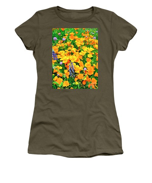 California Poppies And Betham Lupines Southern California Women's T-Shirt