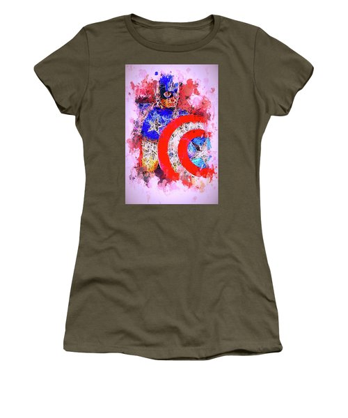 Captain America Watercolor Women's T-Shirt