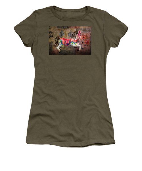 Women's T-Shirt featuring the photograph Carousel Prancing Dream by Michael Arend