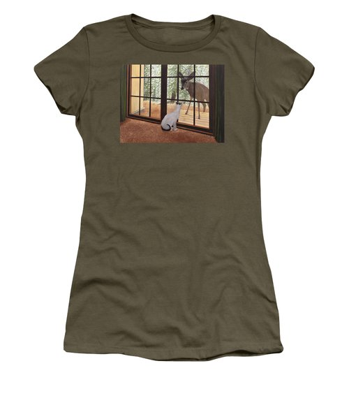 Cat Meets Deer Women's T-Shirt