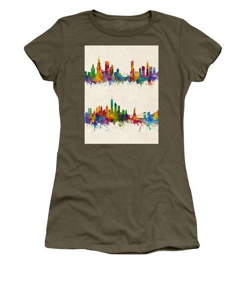 Chicago And New York City Skylines Women's T-Shirt