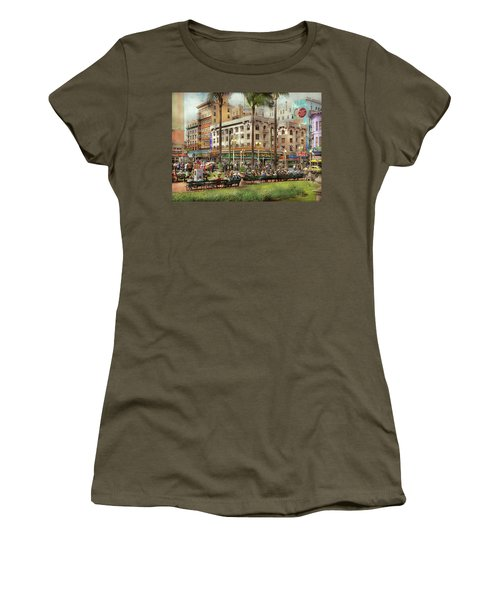 Women's T-Shirt (Athletic Fit) featuring the photograph City - San Diego Ca - A Busy Street Corner 1941 by Mike Savad