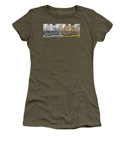 Women's T-Shirt (Athletic Fit) featuring the photograph City - San Diego Ca - A Busy Street Corner 1941 - Side By Side by Mike Savad