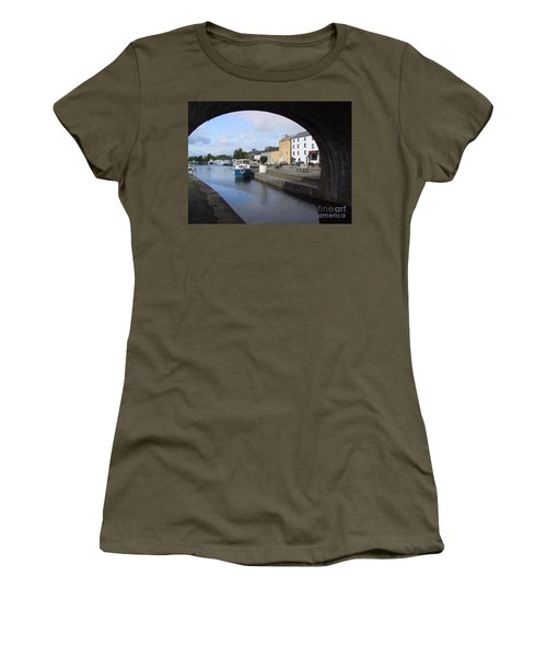 Women's T-Shirt featuring the painting Cloondara,a Shannon By Way. by Val Byrne