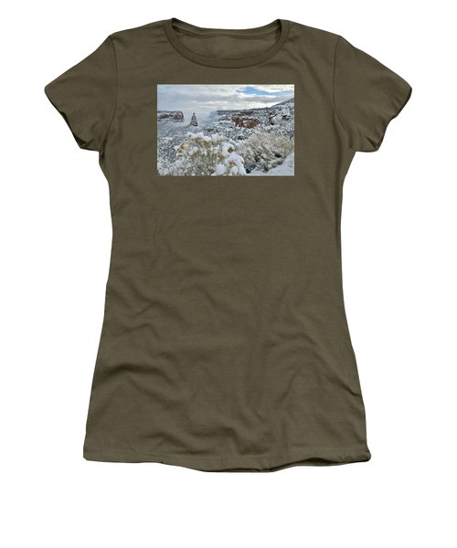 Clouds Break Over Snow Covered Independence Canyon Women's T-Shirt