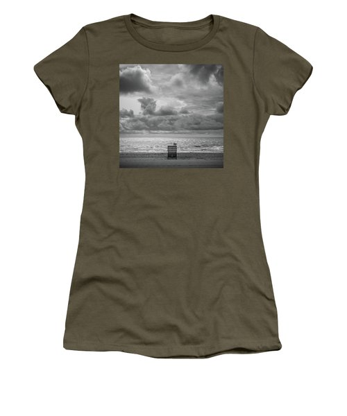 Women's T-Shirt featuring the photograph Cloudy Morning Rough Waves by Steve Stanger