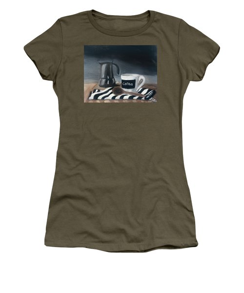 Women's T-Shirt featuring the painting Coffee Time by Fe Jones