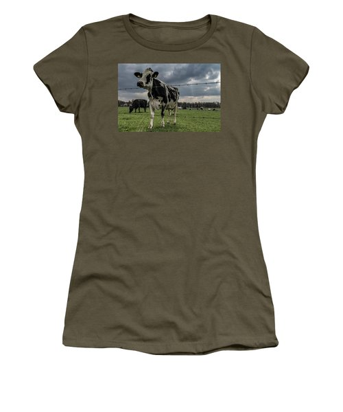 Women's T-Shirt featuring the photograph Cows Landscape. by Anjo Ten Kate