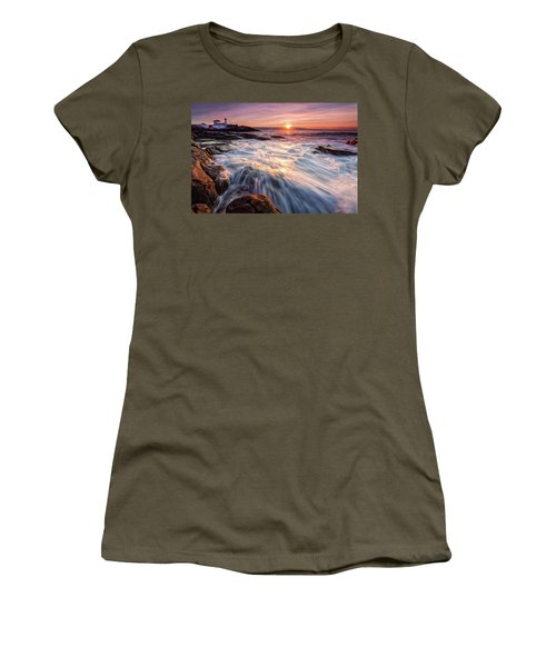 Women's T-Shirt featuring the photograph Crashing Waves At Sunrise, Nubble Light.  by Jeff Sinon