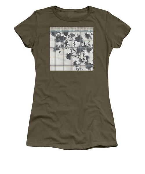 Cream Thistle Plaid Contrast Border Women's T-Shirt