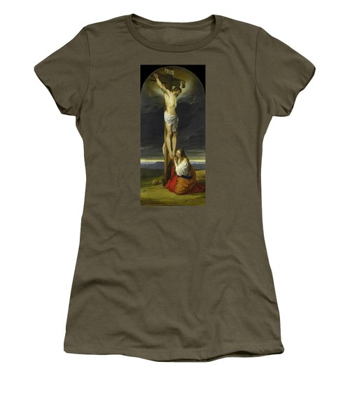 Crucifixion With Mary Magdalene Kneeling And Weeping Women's T-Shirt