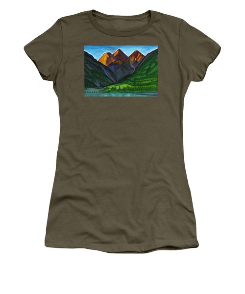 Evening Illumination Of Snowy Mountain Peaks With Waterfalls And A Mountain River Women's T-Shirt