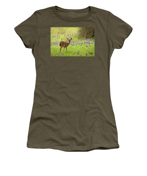 Deer In The Bluebonnets Women's T-Shirt
