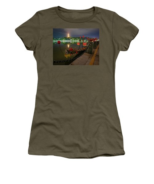 Women's T-Shirt featuring the photograph Docked Dragon Boat At Night I by William Dickman