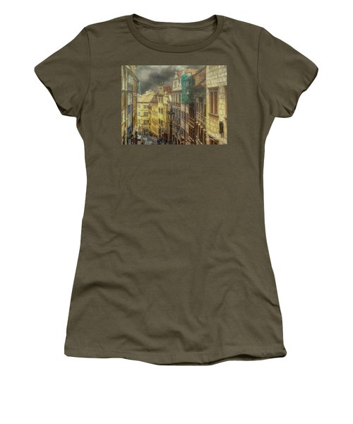 Downhill, Downtown, Prague Women's T-Shirt