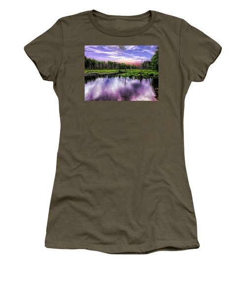 Dusk Falls Over New England Beaver Pond. Women's T-Shirt